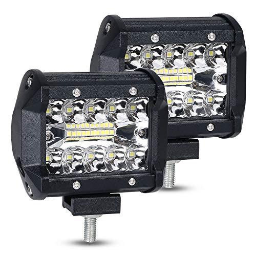URAQT Faro da Lavoro LED, Spot Light 4'60W, Fari LED 6000K Fascio di Luce Combinato Proiettore Fendinebbia Impermeabile Luci Off Road per Fuoristrada, 2 Pezzi [Classe di efficienza energetica A+]