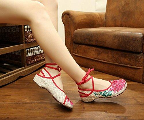 ZQ Red Lotus Bestickte Schuhe, Sehnensohle, ethnischer Stil, Femaleshoes, Mode, bequem , beige red edge , 41