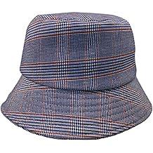 57a2c1fa4d5e3 Ofliery Sombrero de Pescador de protección Solar a Rayas de Tela Escocesa