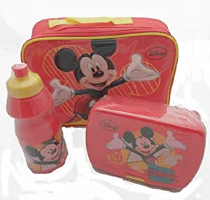 MICKEY MOUSE INSULATED SCHOOL LUNCH BOX + SANDWICH COOL BAG DRINK BOTTLE SET NEW