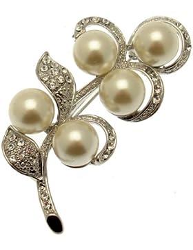 Acosta Brooches - Perle & Glaskristall florales Design Blatt (Silberton) - in Geschenkverpackung