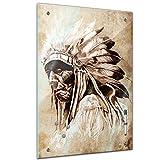Memoboard 60 x 80 cm, Männermotive - Indianer im Vintage Style - Memotafel Pinnwand - Häuptling - Federschmuck - Wilder Westen - Stamm - Volk - Reservat - Kultur - Küche - Glasbild - Handmade