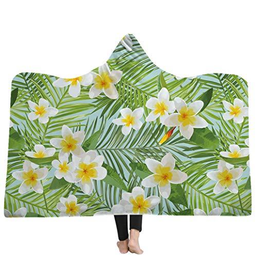 Kapuzendecke, Thick Double-Layer Plush Digital Printing Tropical Plants Daisy, Perfect Camping, Travel, Dress Up, Sleeping Companion,G,60''*78'' (Daisy Up Dress)