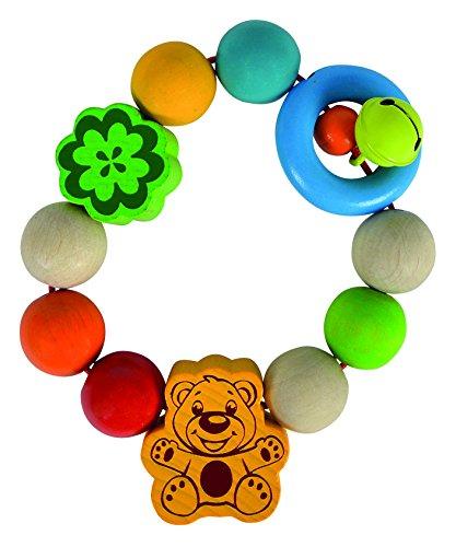 Simba Heros 100017060 – Baby, greifling, multicolore – Motif Ours – Bois de hêtre – Anneau de Dentition – Hochet – Fabriqué en Allemagne