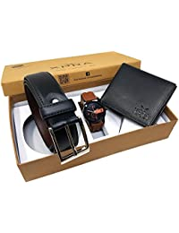 XPRA Analog Watch, Black PU Leather Belt & Black Leather Wallet For Men/Boys Combo (Pack Of 3) - (WL-3CMB-44)