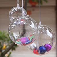 StillCool Bola transparente de decoración festival,bola rellenable de navidad con diámetro de 60mm,paquete de 12
