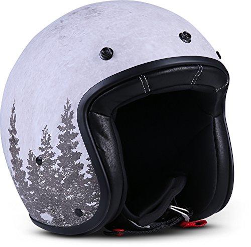"Rebel R9 \""Deer\"" · Jet-Helm · Motorrad-Helm Roller-Helm Scooter-Helm Bobber Mofa-Helm Chopper Retro Cruiser Vintage Pilot Biker Helmet Brille Visier Helmet · ECE Fiberglas SlimShell Tasche M (57-58cm)"