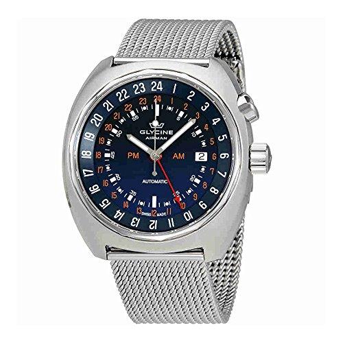 Glycine Airman SST 12blu quadrante acciaio maglia orologio da uomo GL0073