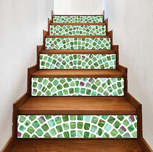 Wangxuan6 Kreative Diy Treppe Retro Grün Mosaik Fliesen Muster Raum Treppe Treppenhaus Treppenhaus Aufkleber