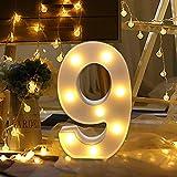 0-9 LED Digital Zahlen beleuchtet Buchstaben Schild für Hochzeit, Geburtstag, Party, batteriebetrieben, Weihnachts-Nachtlicht, Heimbar