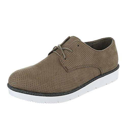 Senhoras Schnürer Sapatos Oxford Lace-ital-design Baixo Cáqui Sapatos