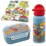 Sigikid Brotdose und Trinkflasche Superheld Pille Power Schulanfang Kindergarten Brotzeitbox mit Trennwand Jungen blau