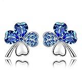 Blue Crystal Four Leaf Clover Love Heart Silver Plated Earring