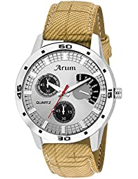 Arum Grey Round Dial Leather Strap Wrist Watch For Men's And Boy's