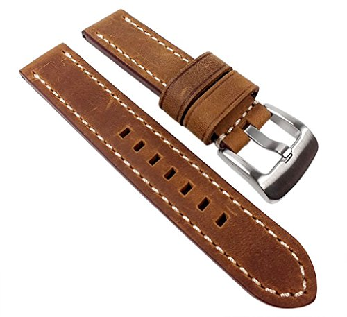 PAN Ersatzband Uhrenarmband Kalbsleder Braun 22324S, Stegbreite:20mm