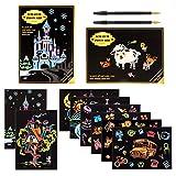Kesote Cartoline di Scratch Art per Bambini 8 Fogli di Disegni + 2 Penne Cartolina da Colorare Fogli Staccabili per Fai da Te Regalo di Compleanno, Natale