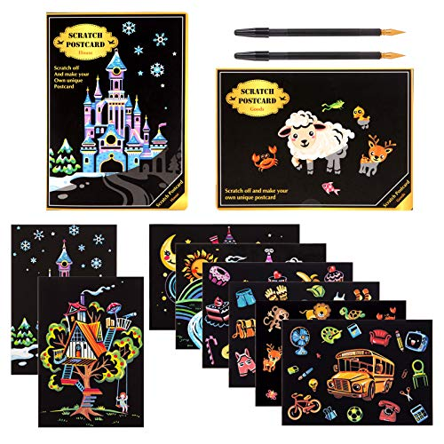 Kesote Cartoline di Scratch Art per Bambini 8 Fogli di Disegni + 2 Penne Cartolina da Colorare Fogli Staccabili per Fai da Te Regalo di Compleanno, Nat