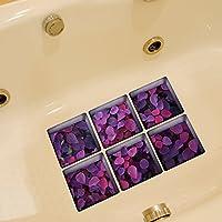 Weare Home Lila Blätter Muster Serie von 6 Stück Deko Design Kreativ Anti Rutsch Sticker für Sicherheit Kinder für Badewanne, je Stück 14.5×14.5cm
