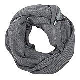 Schal,Sasstaids Damenmode Wolle Winter Thermal Active Infinity Schal mit Reißverschlusstasche