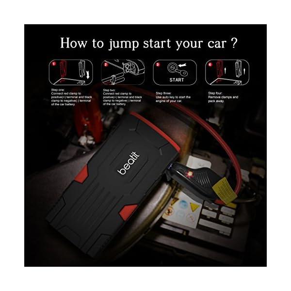 Arrancador de coche portátil Beatit D11 800A Peak de 18000 mAh y 12V (hasta 7,5 l de gasolina o 5,5 l de diésel) con…