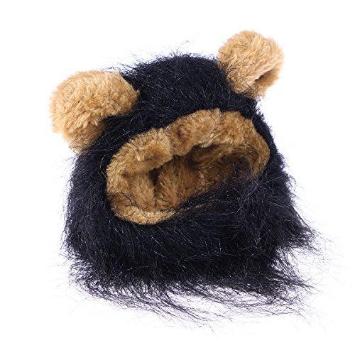 Für Kostüm Hunde Schwarzer Löwe - Kleidung T-Shirt ueetek Haustier Kostüm Löwe Mähne Perücke Leon für Katze Hund klein verstellbar schwarz Warme Small