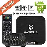 4K Android TV Box - Maxesla MAX-S II Android 7.1 Smart TV Box, 2GB DDR3 + 16GB EMMC, Ultima Versione Quad Core CPU Amlogic S905X, 4K×2K, Doppio USB, 2.4G WiFi TV Box con Mini Tastiera Senza Fili