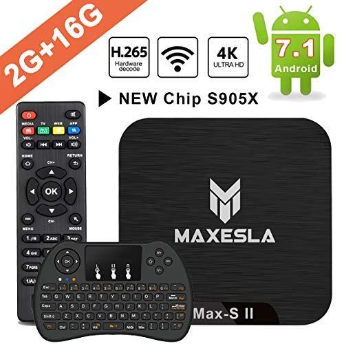 Smart TV Box Android 7.1 - Maxesla MAX-S II Mini TV Box 2 GB RAM + 16 GB ROM, 2019 neueste CPU Amlogic S905X, WLAN 2,4 GHz, Dual USB, H.265, HDMI & AV, 4K UHD TV Box mit drahtloser Mini-Tastatur