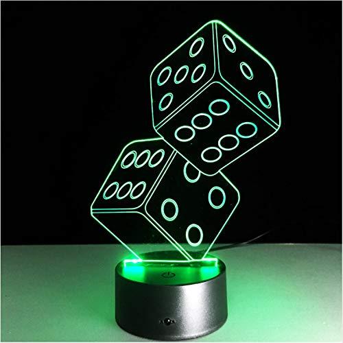 3D LedUsbLampe Magier Dekoration Texas Hold Dice Poker Spades Spielkarten 7 Farben Ändern Nachtlicht Weihnachtsgeschenke ()