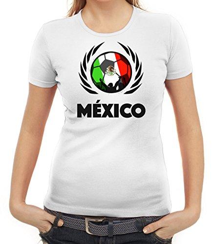 ShirtStreet Mexico Wappen Soccer Fussball WM Fanfest Gruppen Fan Wappen Damen T-Shirt Fußball Mexiko Weiß