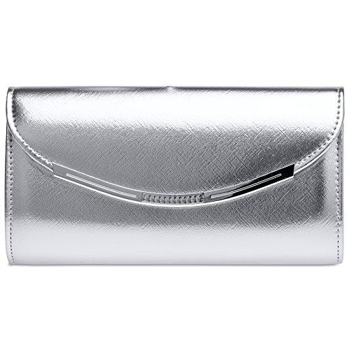 CASPAR TA383 elegante Damen Baguette Clutch Tasche / Abendtasche, Farbe:silber;Größe:One Size