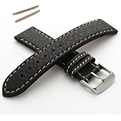 18mm Watch Strap in Genuine Leather with White Stitching - New Spring Bars Supplied