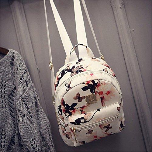 Yesiidor Rucksack Damen Umhängetasche Schulrucksäcke Leder Reise Daypacks Tasche in 4 Farben Weiß