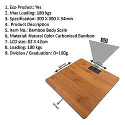 SAMSON Bamboo Top Bathroom Digital Weighing Scale