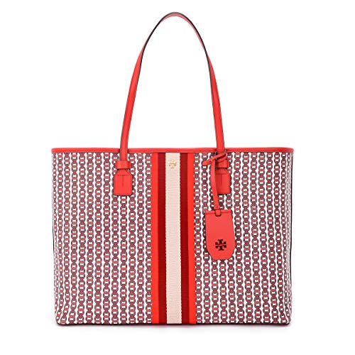 Tory Burch Schultertasche Modell Gemini Link in Canvas Rot Multicolor