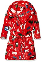Hatley Boy's Fleece Red Robe, Vintage Ski, Large