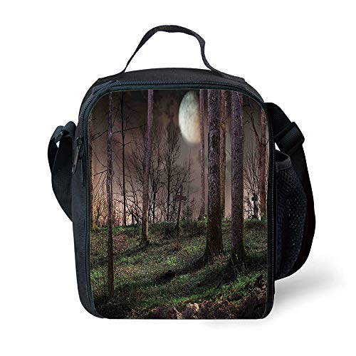 MLNHY School Supplies Gothic,Dark Night in The Forest with Full Moon Horror Theme Grunge Style Halloween,Brown Green Yellow for Girls or Boys Washable