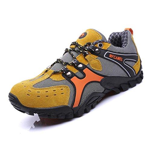 SAGUARO® Hike Trekking Wanderhalbschuhe Outdoor Sport Wander Schuhe Walking Wanderstiefel Boots für Herren Damen, Gelb 41