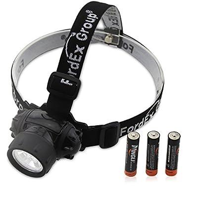 Fordex Group 7 LED-Scheinwerfer Scheinwerfer, Wasserdicht 4 Modi, Leiter Sicherheit, Lampe, Blitzlicht, Fackel für Radfahren, Klettern, Mountainbiken, Laufen mit 3 x 1,5 V AAA-Batterien von Fordex Group - Outdoor Shop