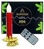 Baumkerzen kabellos mit Fernbedienung |8er Set LED Kerzen rot mit Metall Clip Kerzenhalter Gold | Weihnachtsbaumbeleuchtung