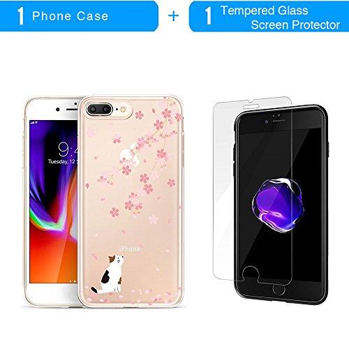 iPhone 8 Plus Hülle, TrendyBox Flexibel TPU Gel IMD Transparent Schutzhülle für iPhone 7 Plus und iPhone 8 Plus mit Gehärtetem Glas Displayschutzfolie (Kirschblüte und schwarz Katze) Kirschblüte und weiß Katze