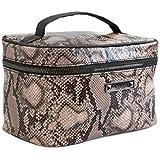 حقيبة ماكياج نيكول ميلر حقيبة سفر لأدوات الزينة وحقيبة مستحضرات التجميل - جلد ثعبان وردي صناعي مطبوع