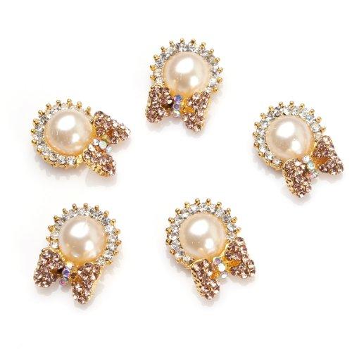 5Pcs Soleil Noeuds Perle Cristal Nail Art Décoré Ongle Or 1 Par RAIN QUEEN