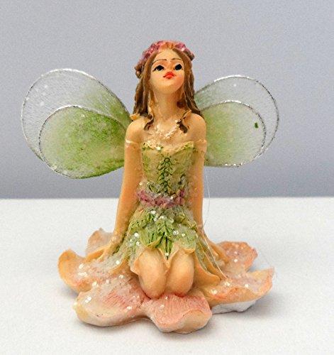 Fata ornamento, delicate fata in miniatura con glitter Gossamer Wings seduto o sdraiato in 4colori, 8motivi a scelta Homestreet®, SittingGreen