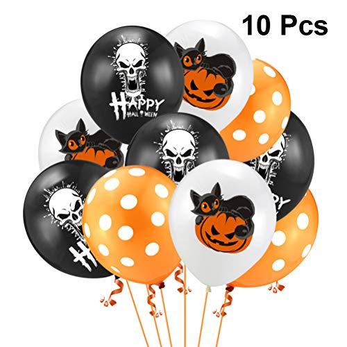 TOYANDONA 10 stücke Happy Halloween Ballon Set Set Schädel Katze Kürbis Dot Druck Latex Ballon für Halloween Theme Party Supplies ohne Band (Theme Halloween Supplies Party)
