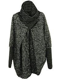 GG Damen Frauen Italienische Lagenlook Chenille Feel Schrullige Schicht Wolle Reißverschluss Kragen Kokon Coatigan Jacke Poncho Cape Oversize Mantel