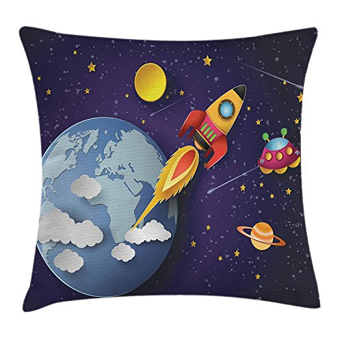 WCMBY Outer Space Throw Pillow Cushion Cover by, Rocket on Planetary System with Earth Stars UFO...