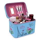 Beauty Case Kosmetiktasche Reise Kulturtasche Kulturbeutel Make Up Bag Kosmetikkoffer 17x15x23cm Groß (Flamingo dunkelblau)