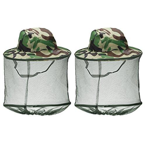 Beetest Imker Hut, 2 STÜCKE Camouflage Imker Imker Anti-mücke Biene Bug Insekt Fly Maske Kappe Hut mit Kopf Net Mesh Gesichtsschutz Für Outdoor Angeln Jagd Camping