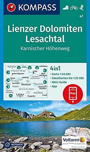 Carta escursionistica n. 47. Lienzer Dolomiten, Lesachtal, Karnischer Höhenweg 1:50.000: 4in1 Wanderkarte 1:50 000 mit Aktiv Guide und Detailkarten ... in der KOMPASS-App. Fahrradfahren. Skitouren.