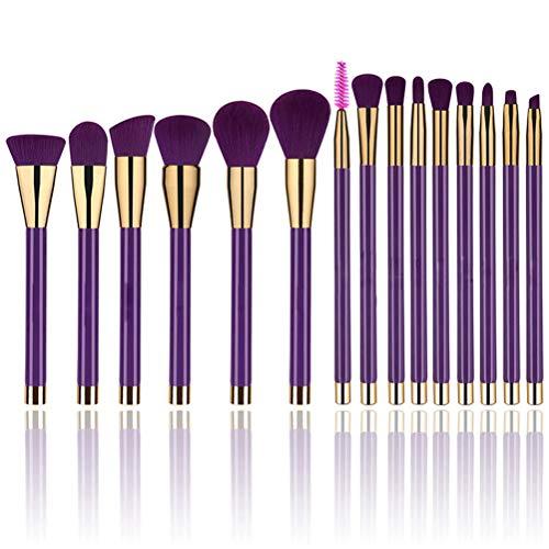 Make-up-Pinsel 15 Stücke tiefpurpurner langer Griff einschließlich zerstreuter Puderpinsel...